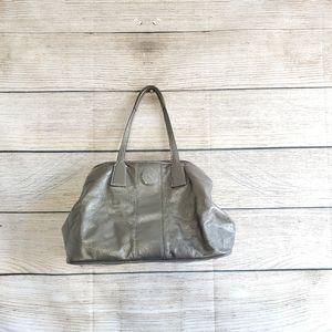 Coach Metallic Green Stitch Patent Leather Purse